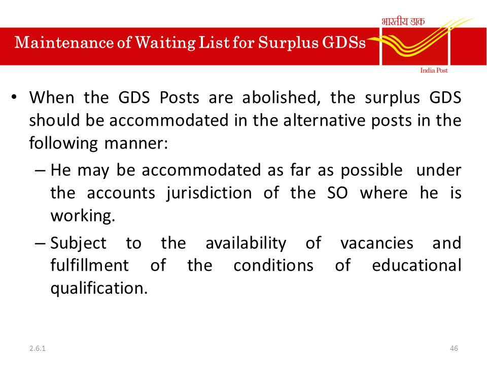 Maintenance of Waiting List for Surplus GDSs
