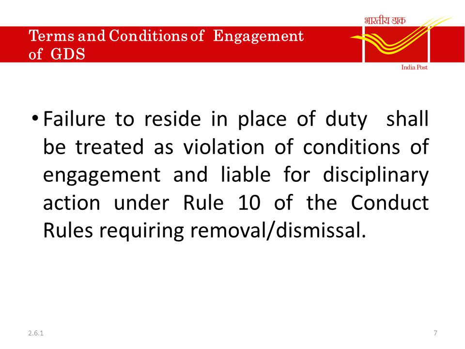 Terms and Conditions of Engagement of GDS