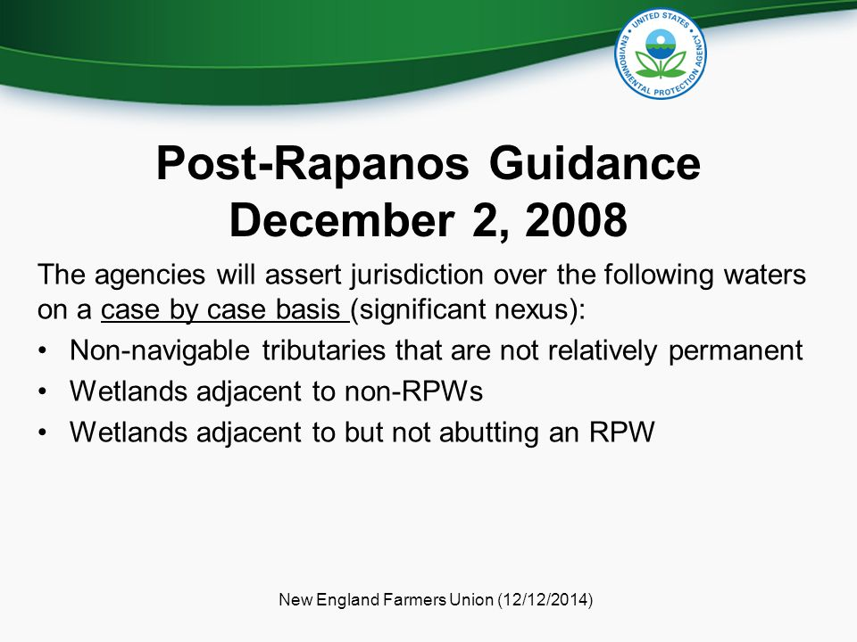Post-Rapanos Guidance December 2, 2008