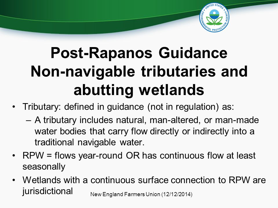 Post-Rapanos Guidance Non-navigable tributaries and abutting wetlands
