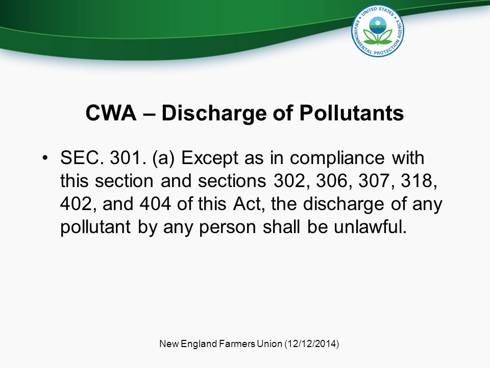 CWA – Discharge of Pollutants