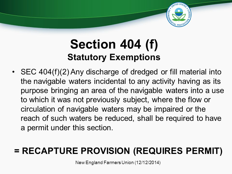 Section 404 (f) Statutory Exemptions