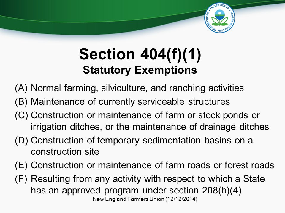 Section 404(f)(1) Statutory Exemptions