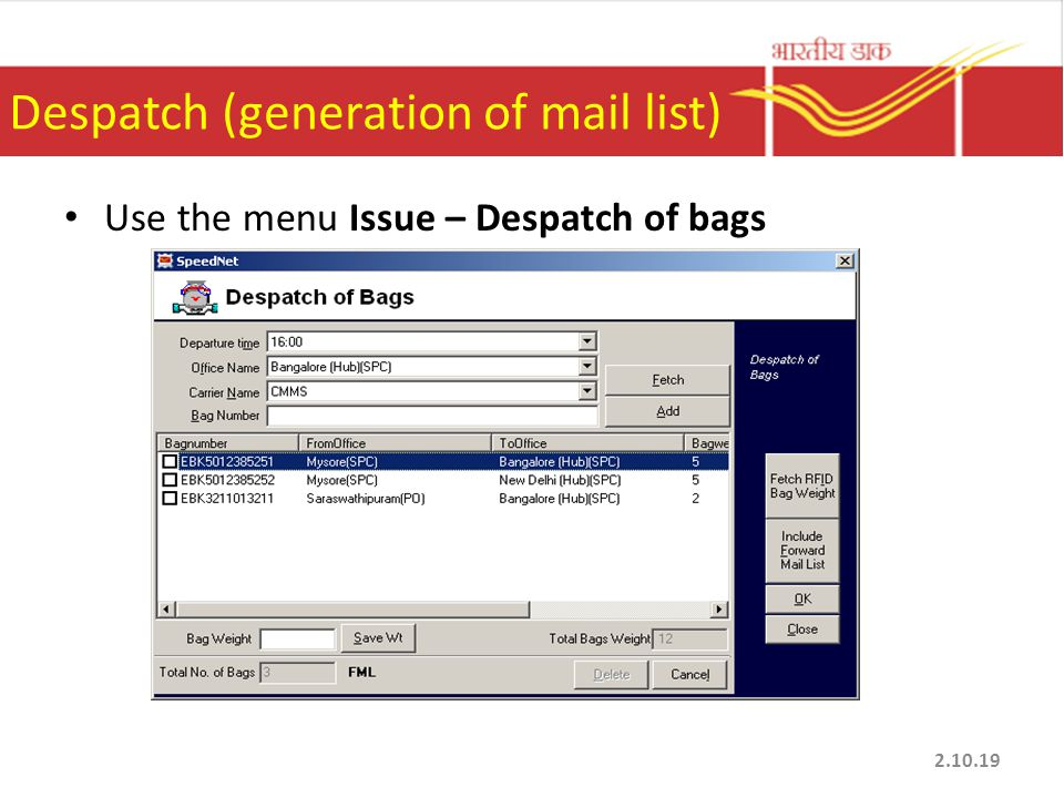 Despatch (generation of mail list)