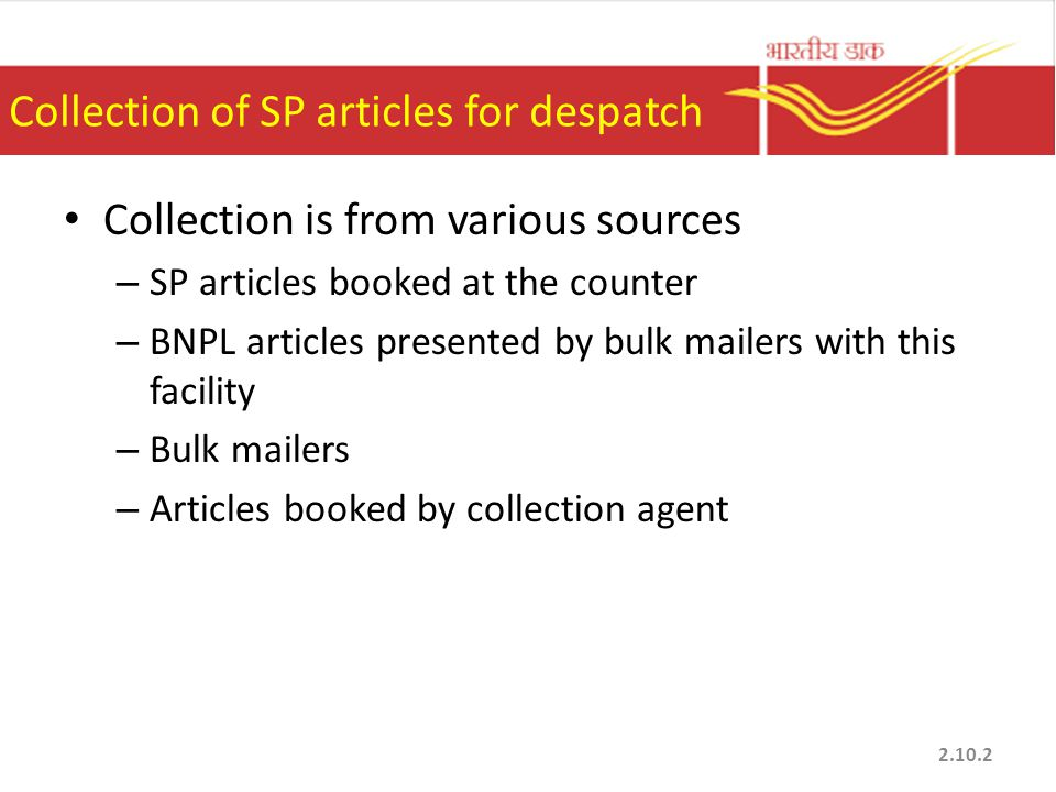 Collection of SP articles for despatch