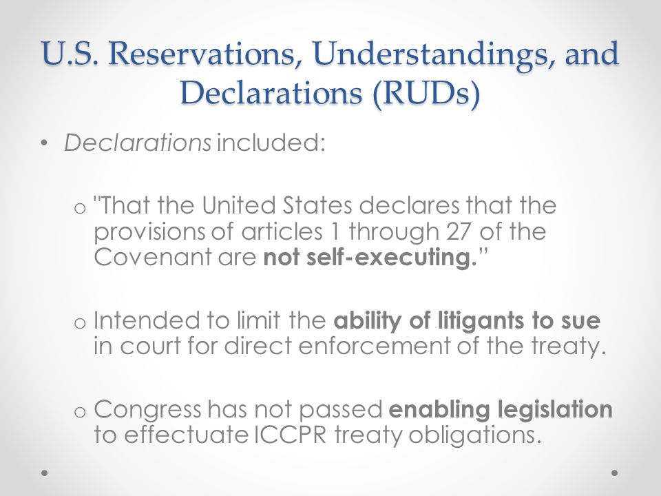 U.S. Reservations, Understandings, and Declarations (RUDs)