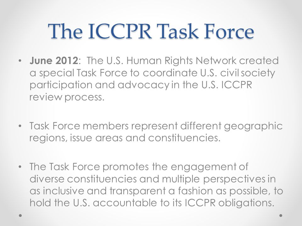The ICCPR Task Force