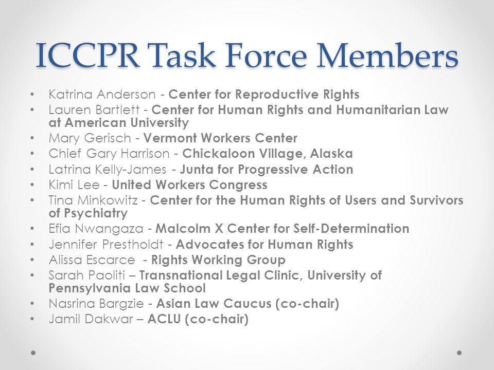 ICCPR Task Force Members