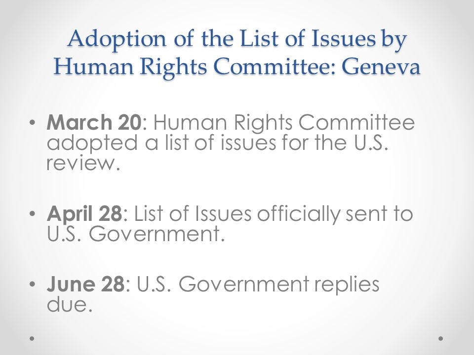 Adoption of the List of Issues by Human Rights Committee: Geneva