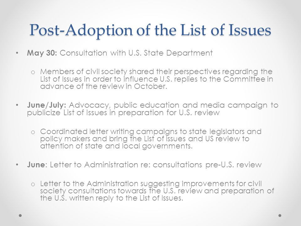 Post-Adoption of the List of Issues