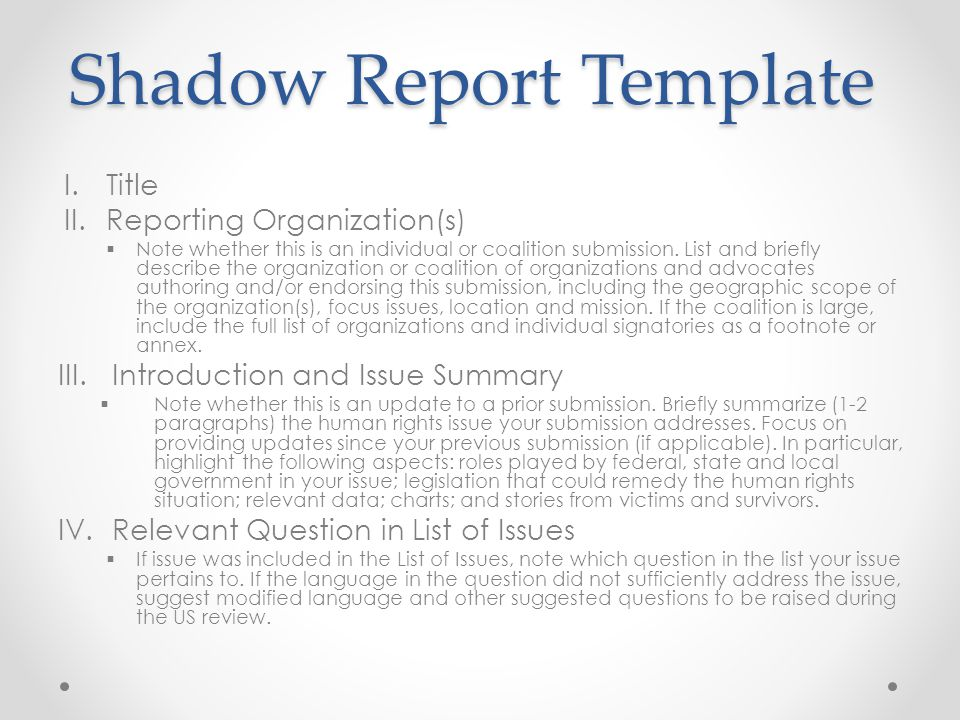Shadow Report Template