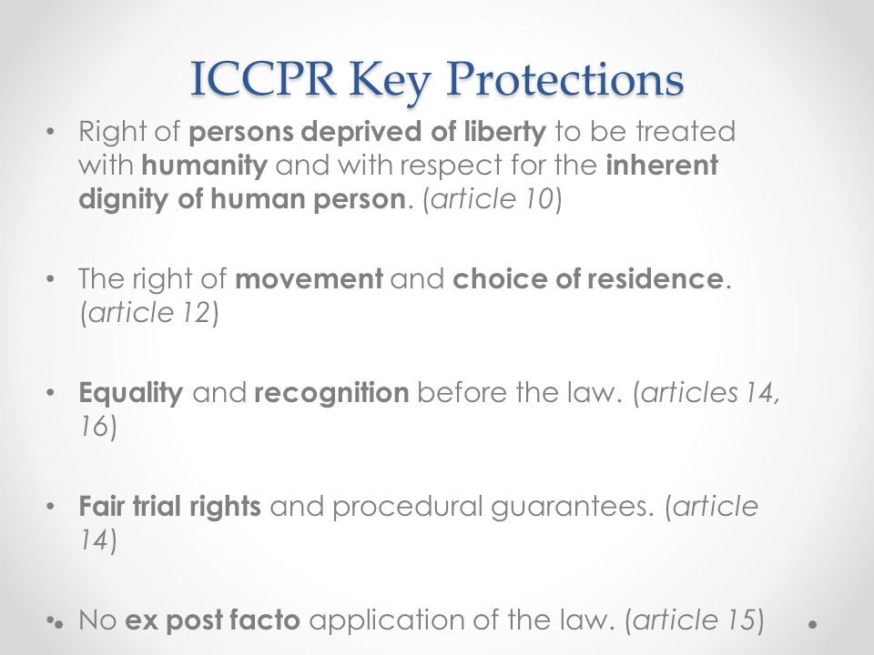 ICCPR Key Protections