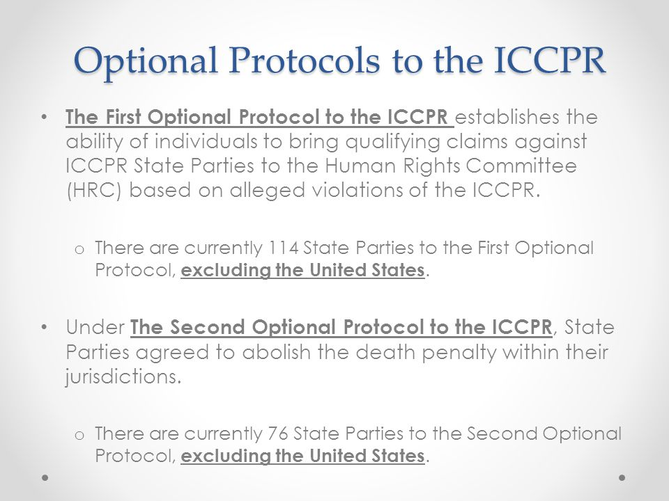 Optional Protocols to the ICCPR