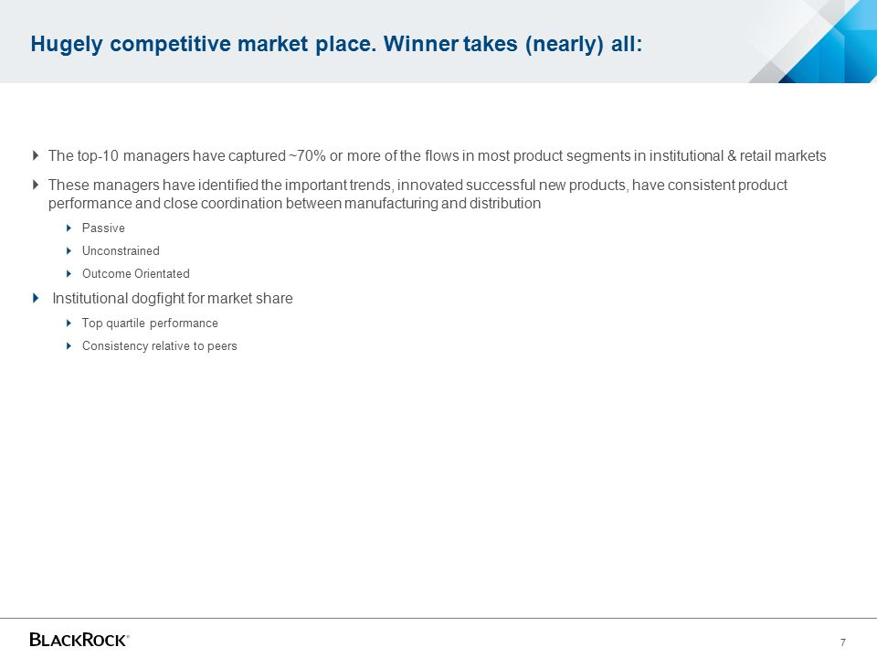 Hugely competitive market place. Winner takes (nearly) all: