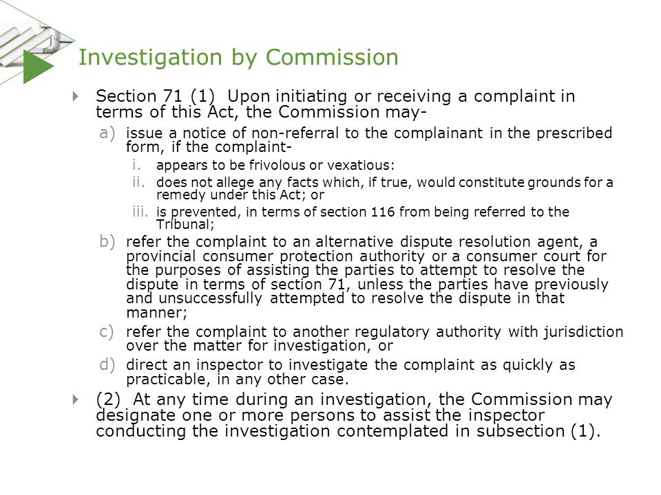 Investigation by Commission