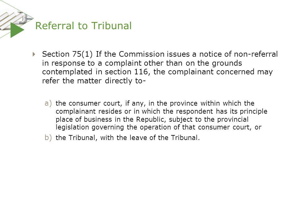 Referral to Tribunal
