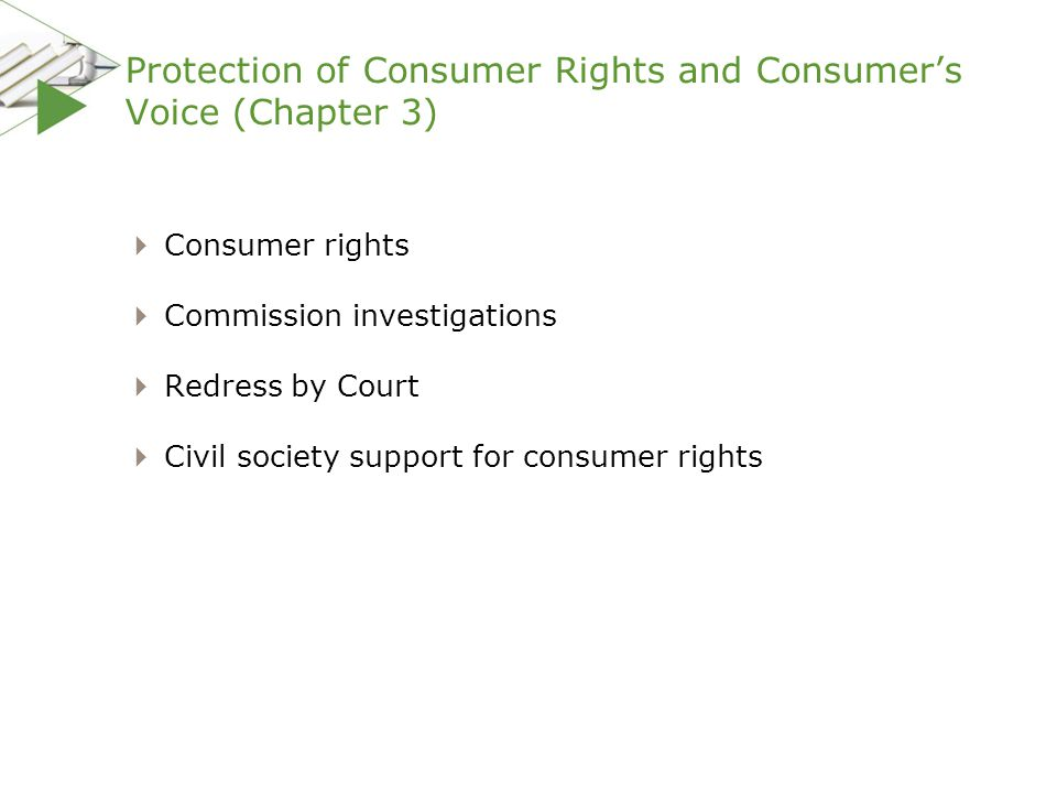 Protection of Consumer Rights and Consumer's Voice (Chapter 3)