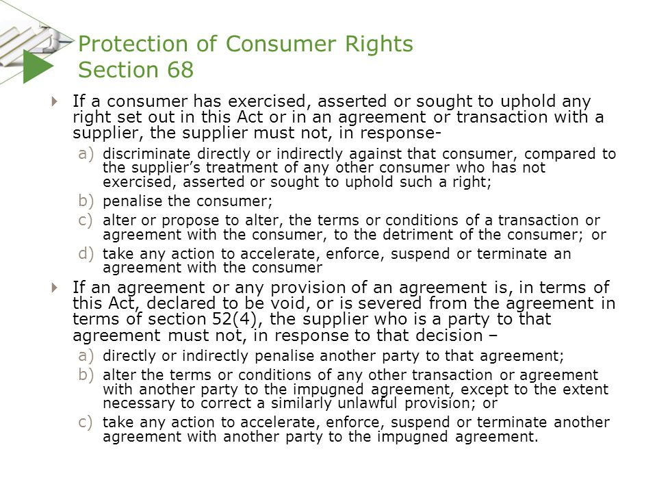 Protection of Consumer Rights Section 68