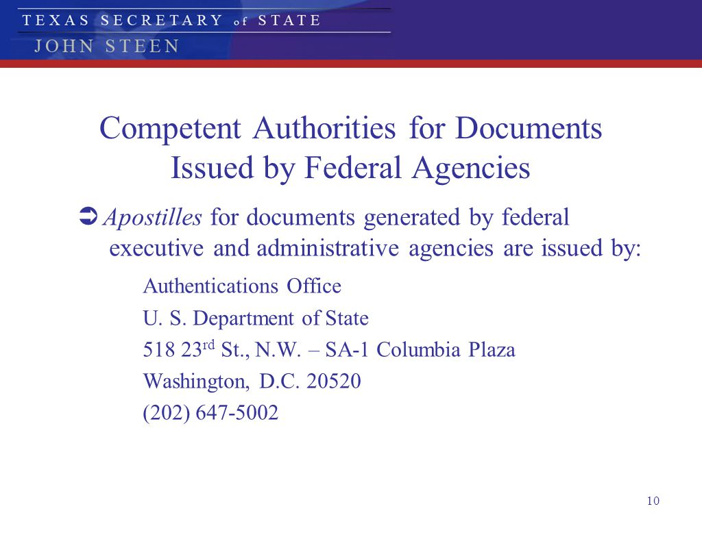 Competent Authorities for Documents Issued by Federal Agencies