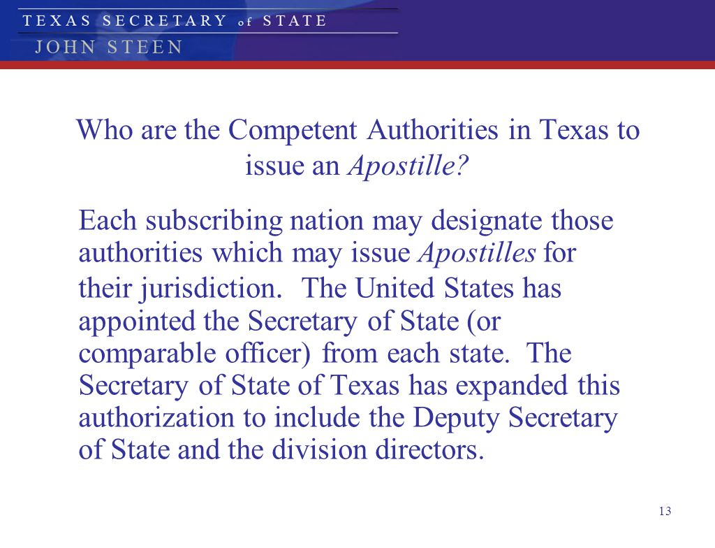 Who are the Competent Authorities in Texas to issue an Apostille