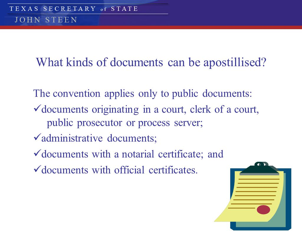 What kinds of documents can be apostillised