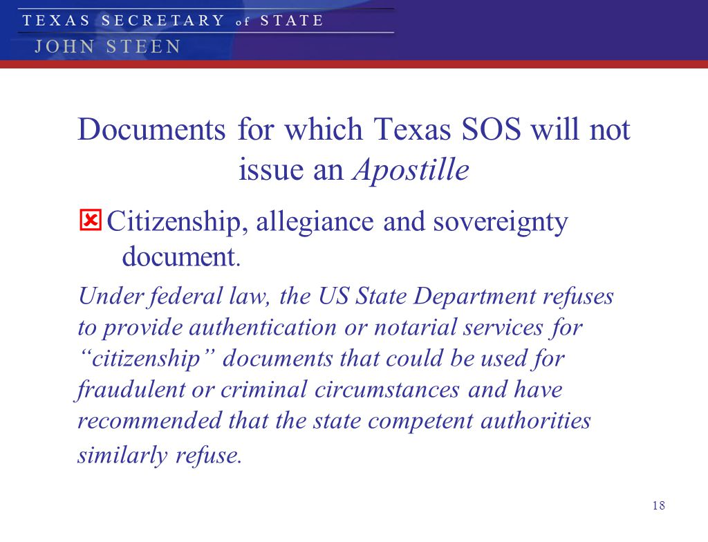 Documents for which Texas SOS will not issue an Apostille
