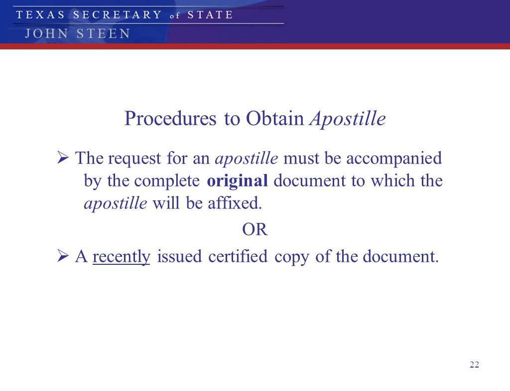 Procedures to Obtain Apostille