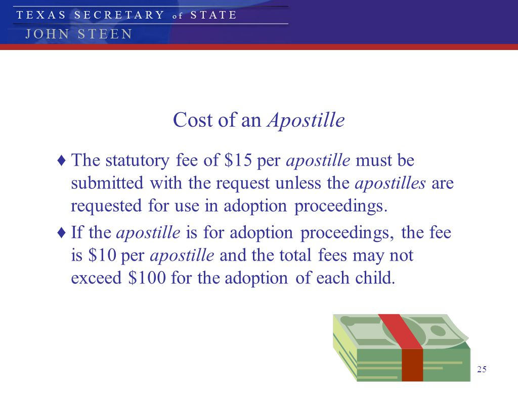 Cost of an Apostille