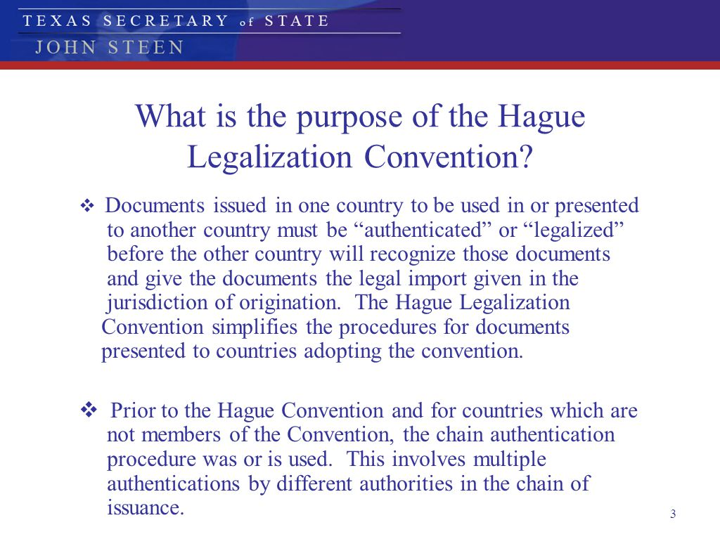 What is the purpose of the Hague Legalization Convention