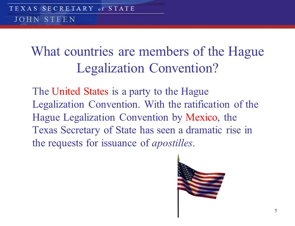 What countries are members of the Hague Legalization Convention