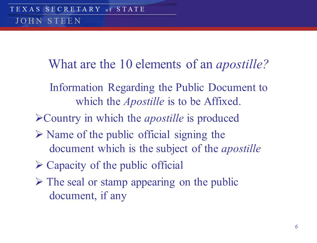 What are the 10 elements of an apostille