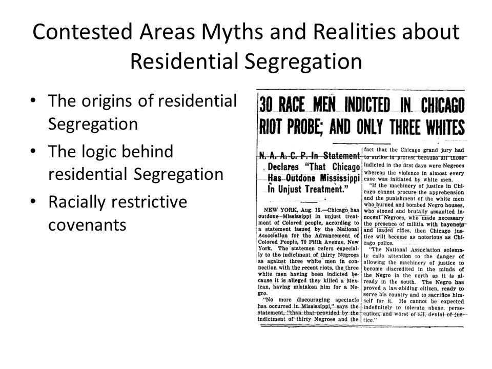 Contested Areas Myths and Realities about Residential Segregation