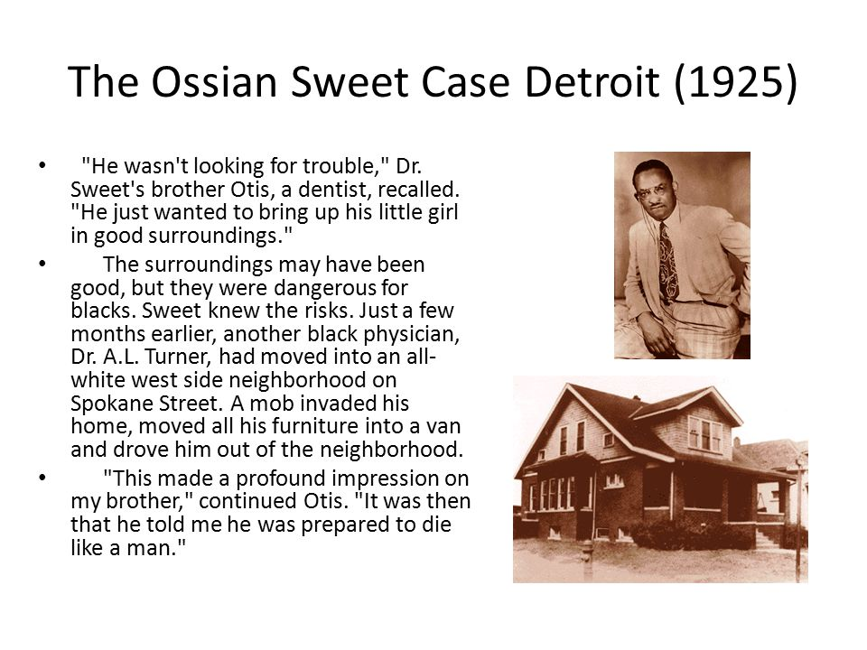 The Ossian Sweet Case Detroit (1925)