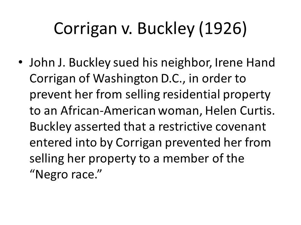 Corrigan v. Buckley (1926)