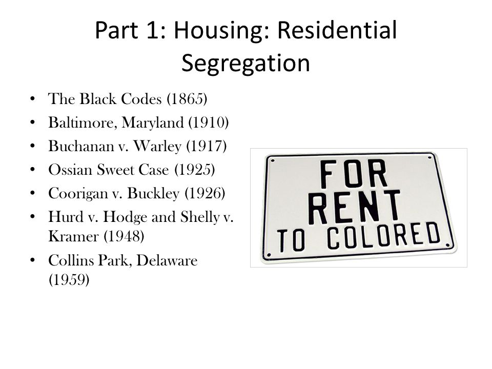 Part 1: Housing: Residential Segregation