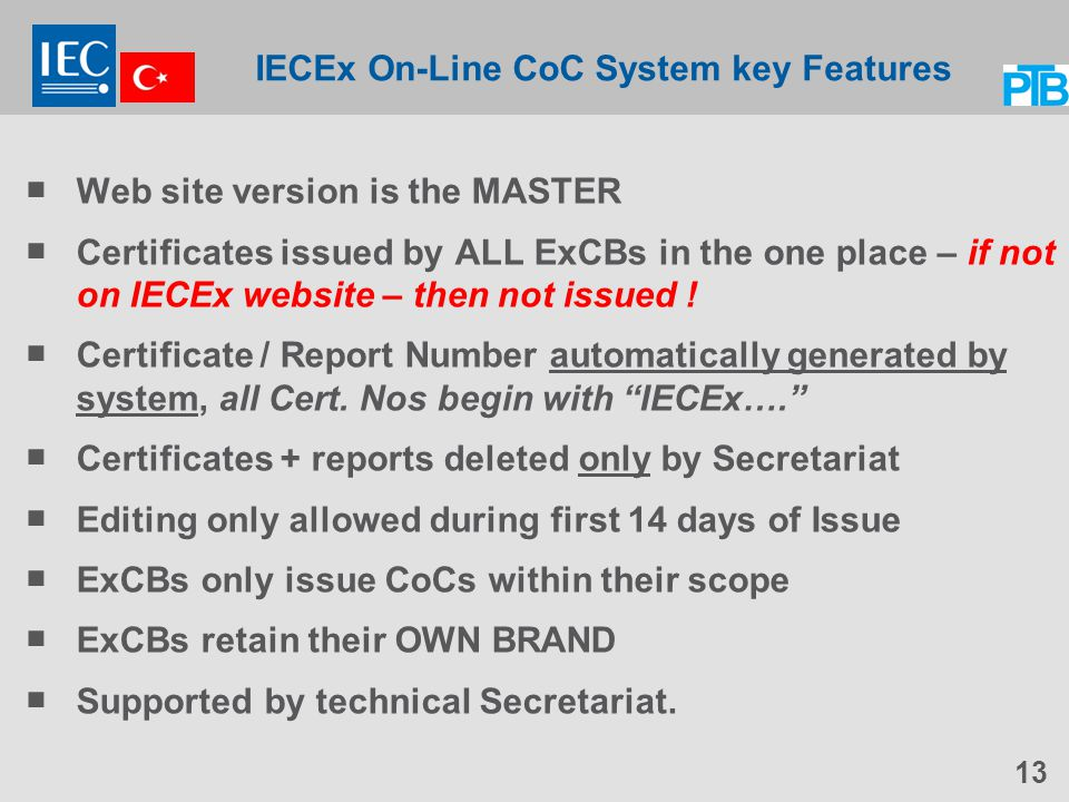 IECEx On-Line CoC System key Features