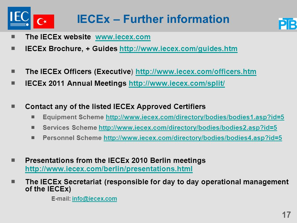 IECEx – Further information