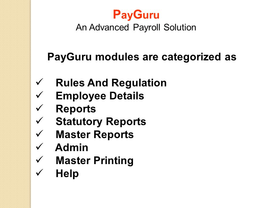 PayGuru modules are categorized as