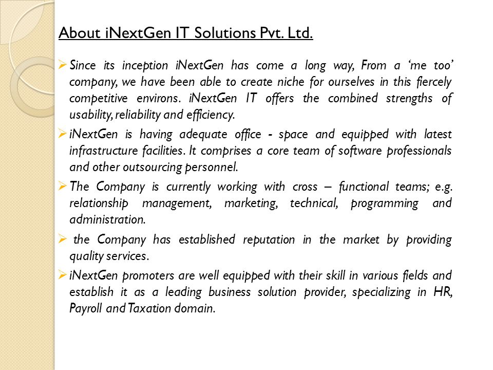 About iNextGen IT Solutions Pvt. Ltd.