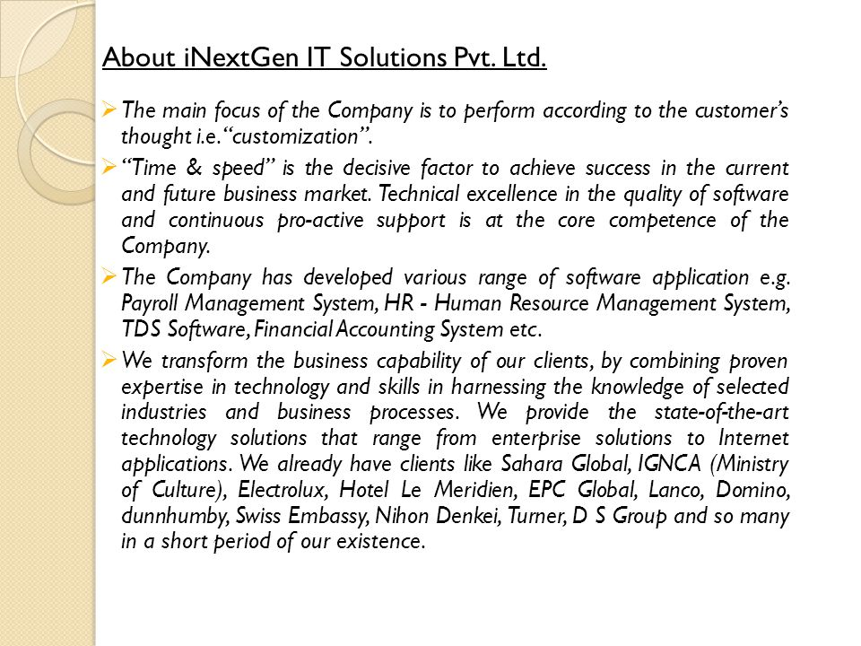 About iNextGen IT Solutions Pvt. Ltd.