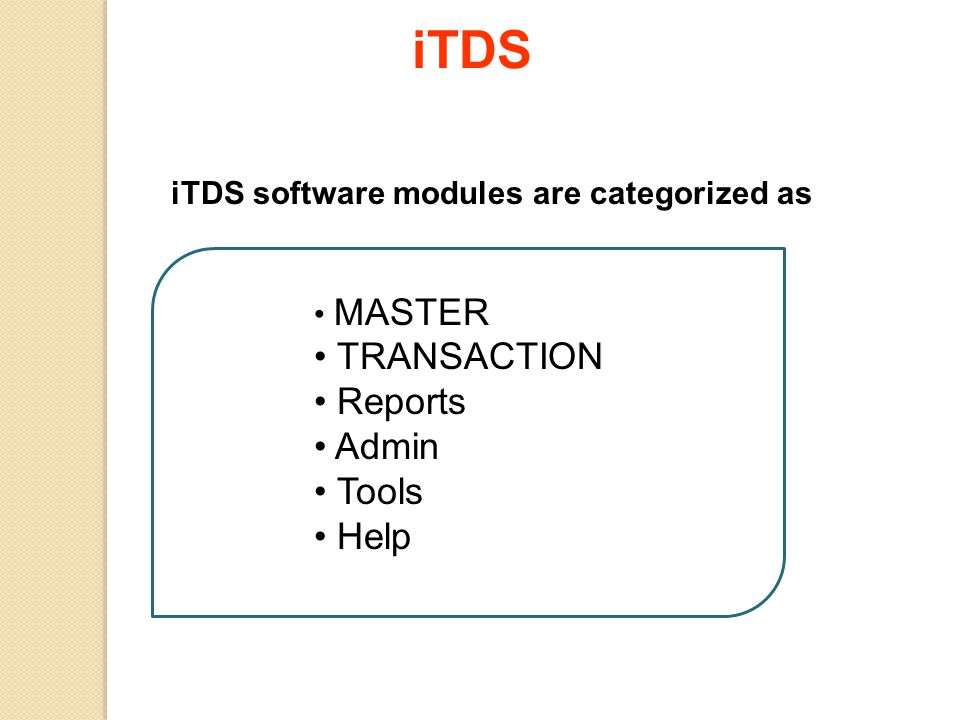 iTDS software modules are categorized as