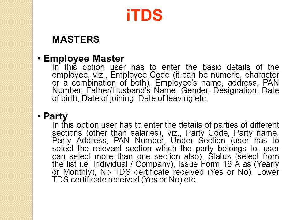 iTDS MASTERS Employee Master Party