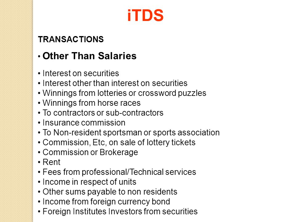 iTDS TRANSACTIONS Other Than Salaries Interest on securities