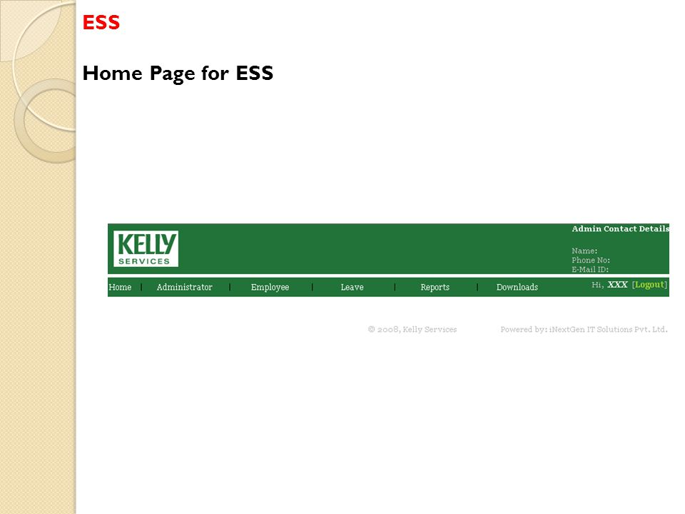 ESS Home Page for ESS