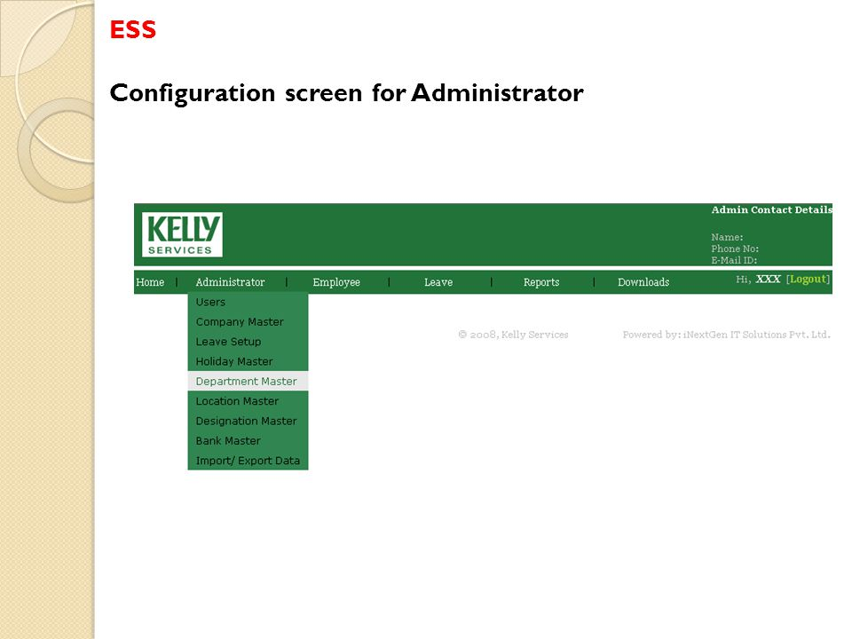 ESS Configuration screen for Administrator