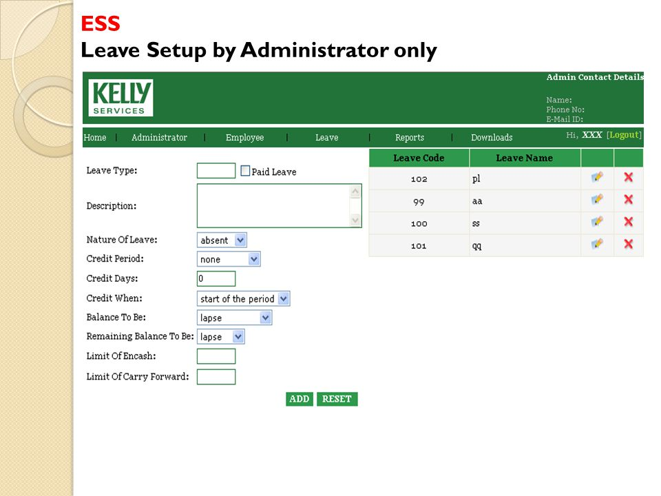 ESS Leave Setup by Administrator only