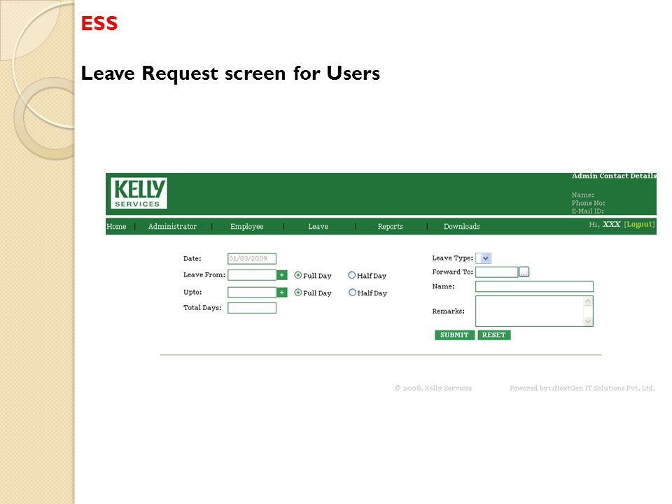 ESS Leave Request screen for Users