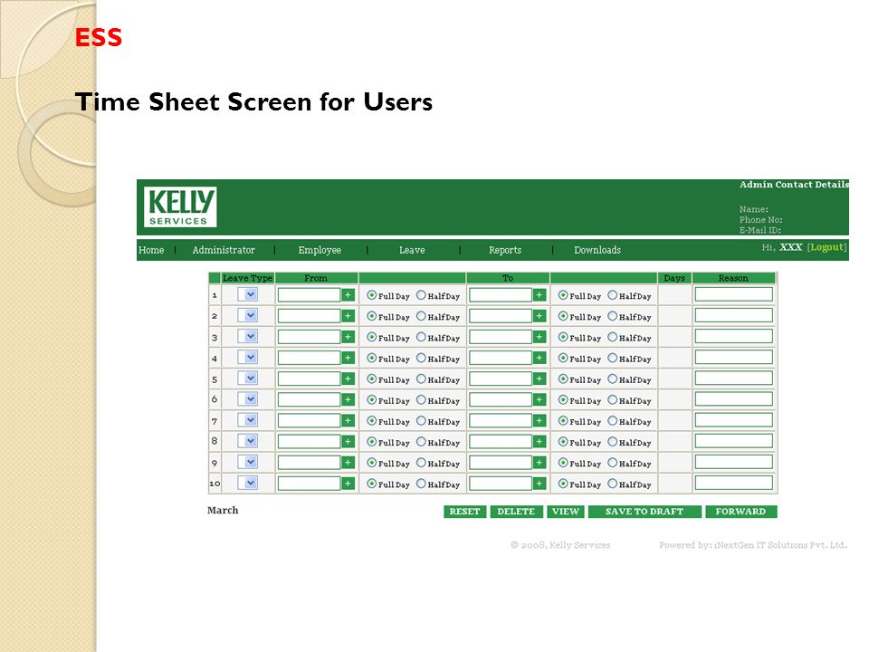 ESS Time Sheet Screen for Users