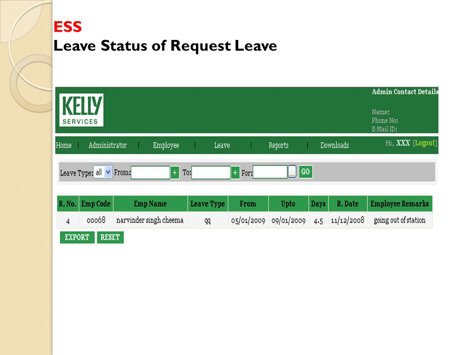 ESS Leave Status of Request Leave