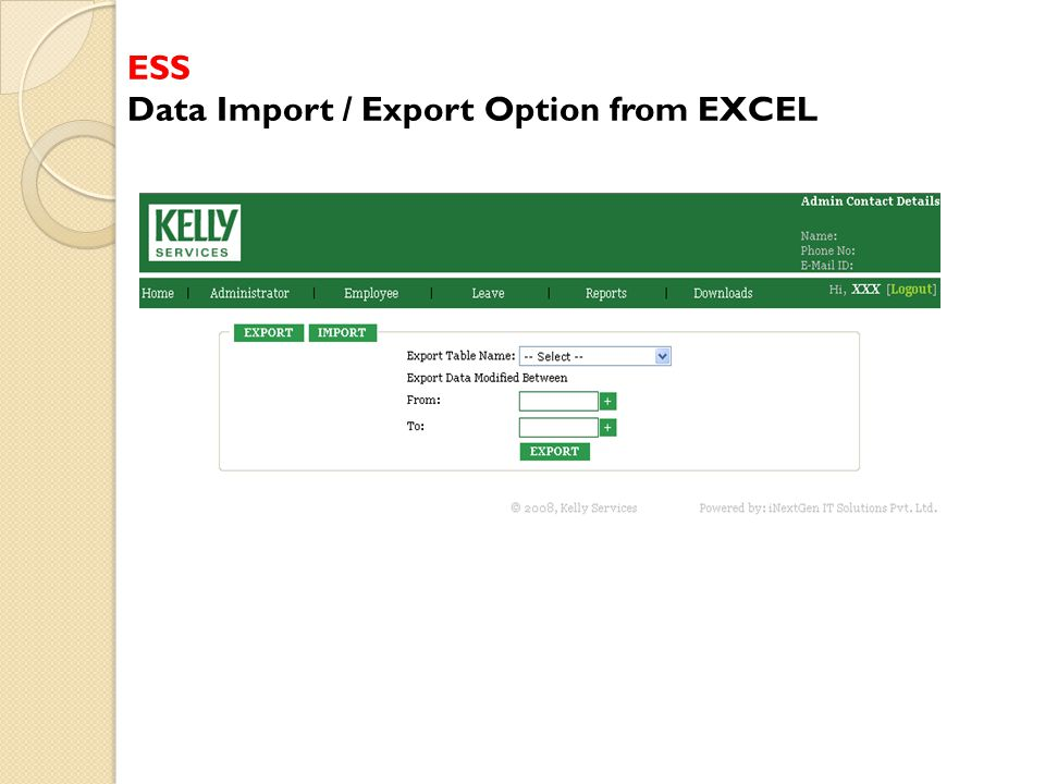 ESS Data Import / Export Option from EXCEL